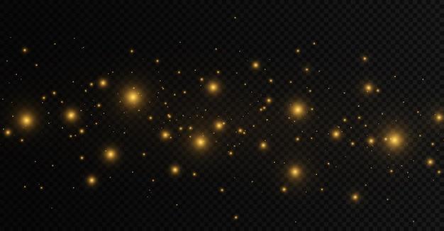 먼지 불꽃과 황금 별은 특별한 빛으로 빛나는 노란색 보케 원으로 빛납니다