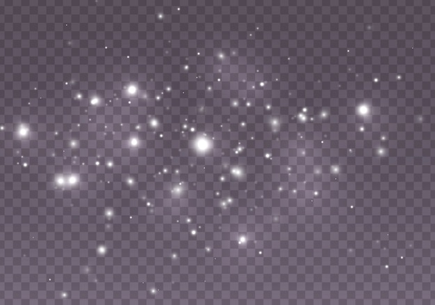 ほこりがスパークし、金色の星が特別な光で輝きます。光の効果。雪。 。概要。魔法のコンセプト。ボケ効果と抽象的な背景。