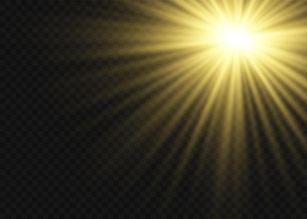 ほこりの火花と金色の星が特別な光で輝いています。透明な背景にきらめきます。クリスマスライト効果。きらめく魔法のほこり粒子内部