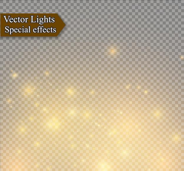 먼지 불꽃과 황금빛 별이 특별한 빛으로 빛납니다. 투명 배경에 반짝. 크리스마스 조명 효과. 반짝이는 마법의 먼지 입자.