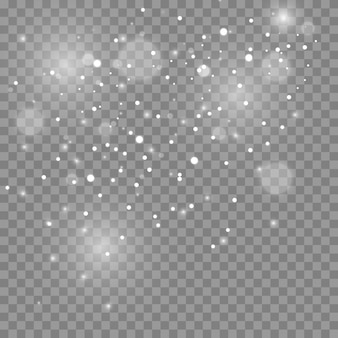먼지 스파크와 황금빛 별이 특별한 빛으로 빛납니다. 투명 배경에 반짝임. 크리스마스 조명 효과. 반짝이는 마법의 먼지 입자.