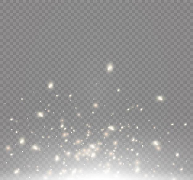 ほこりの火花と金色の星が特別な光で輝きます。透明な背景の上で輝きます。きらめく魔法のちり粒子。