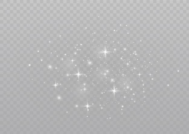 먼지 불꽃과 황금빛 별이 특별한 빛으로 빛나며 반짝이는 마법의 먼지 입자