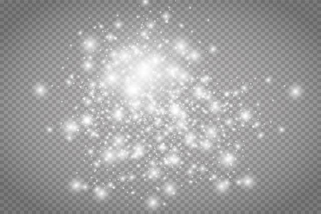 먼지 불꽃과 황금빛 별이 특별한 빛으로 빛납니다. 벡터는 투명한 배경에서 반짝입니다. 크리스마스 조명 효과입니다. 반짝이는 마법의 먼지 입자.