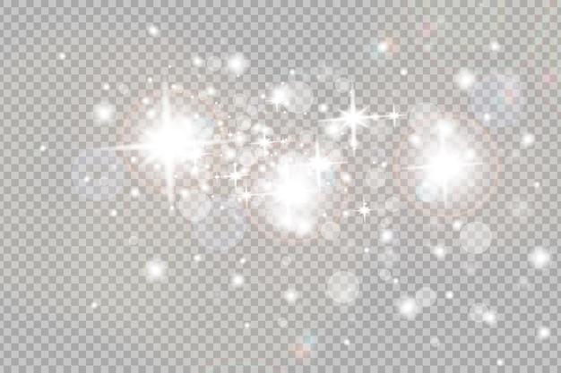 먼지 불꽃과 황금빛 별이 특별한 빛으로 빛납니다. 벡터는 투명한 배경에서 반짝입니다.