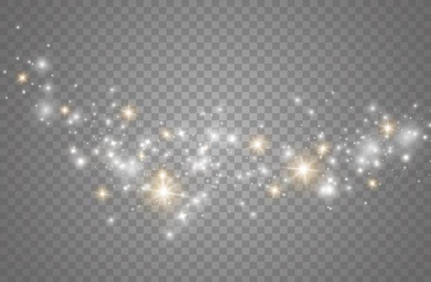 먼지 스파크와 황금빛 별이 특별한 빛으로 빛납니다.