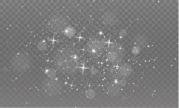 ほこりの火花と金色の星が特別な光で輝いています。