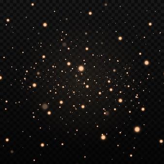 먼지 스파크와 황금빛 별이 특별한 빛으로 빛납니다