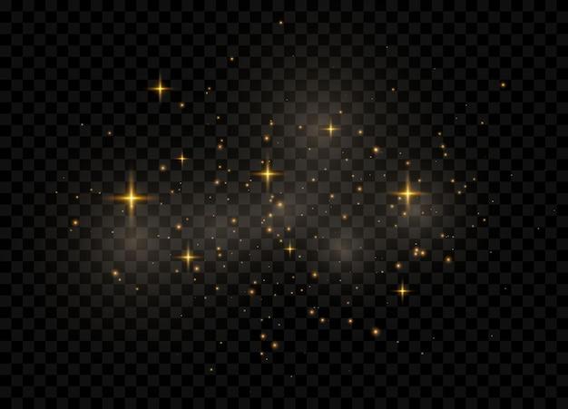 먼지 불꽃과 황금빛 별이 빛납니다