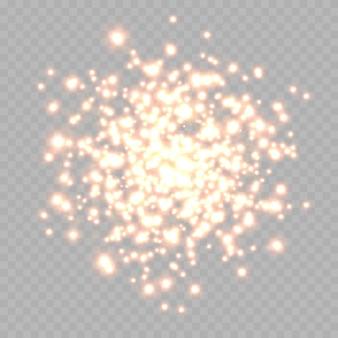 ほこりの火花と赤い星が特別な明るい赤のきらめきで輝きます