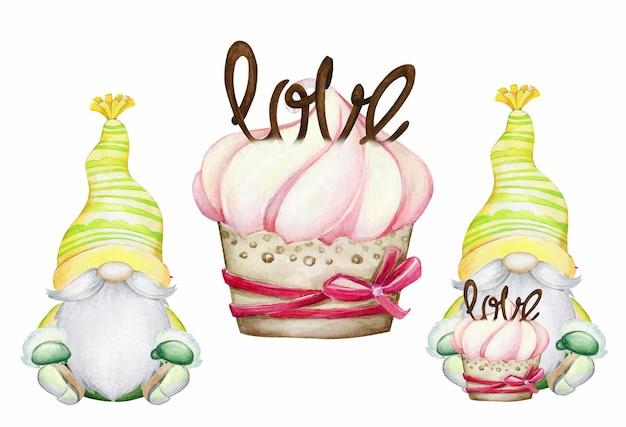Гномы сидят, торт. набор акварели, герои, на праздник, на день святого валентина, на изолированном фоне.