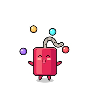 공을 저글링하는 다이너마이트 서커스 만화, 티셔츠, 스티커, 로고 요소를 위한 귀여운 스타일 디자인