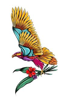 Орел держит стебли цветов