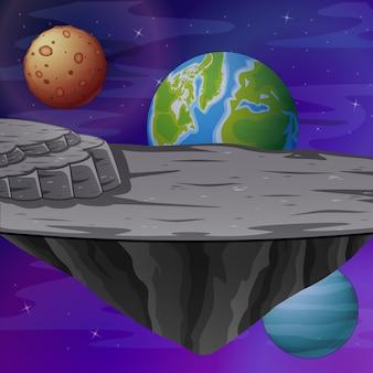 Земля и другие планеты вид иллюстрации Premium векторы