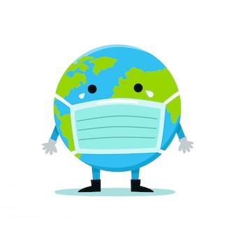 医療用マスクの中にある地球は、ウイルスやバクテリアから身を守っています。健康細菌ウイルス保護。世界環境デーのコンセプトです。