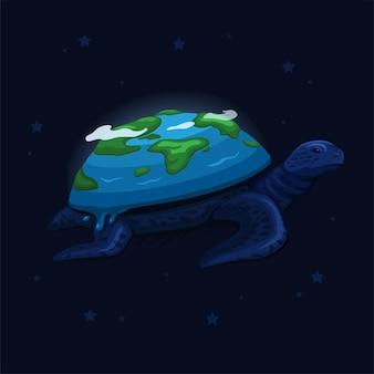 Земля на спине черепахи плывет по концепции мифа о сотворении космоса в векторе иллюстрации шаржа