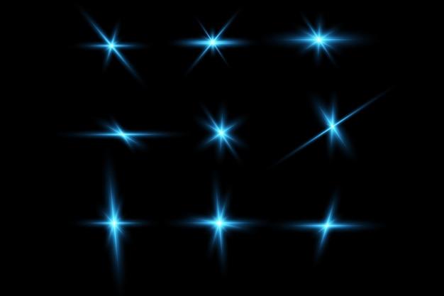 青い星の明るい輝きの効果光の粒子光の効果