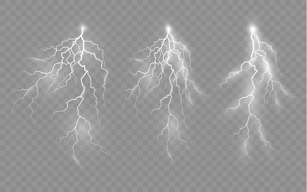 ジッパー雷雨と稲妻の光と輝きの稲妻と照明のセットの効果