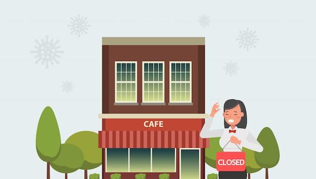 グローバルビジネスにおけるコロナウイルスパンデミックの影響。ウイルス検疫により店舗は閉鎖されました。いいえ4
