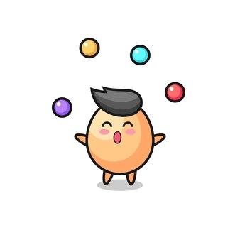Мультфильм цирк яйца жонглирует мячом, милый стиль дизайна для футболки, наклейки, элемента логотипа