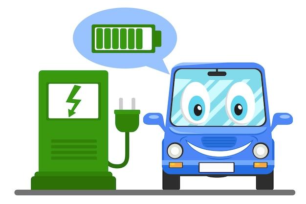 Электромобиль на зарядной станции, улыбается и показывает заряженный аккумулятор.