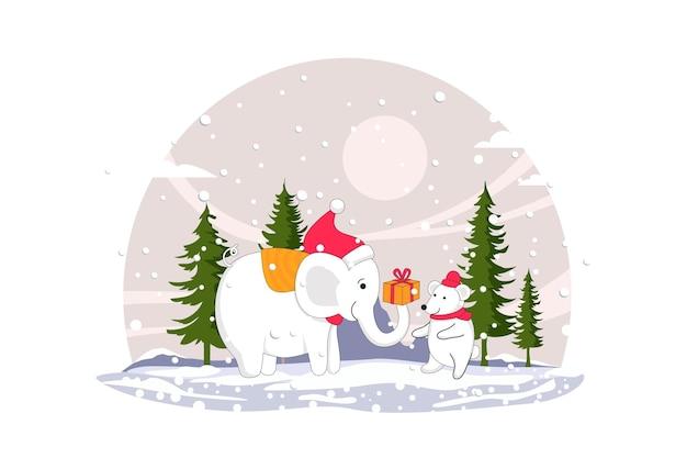 Слон и снеговик счастливого рождества векторные иллюстрации плоский