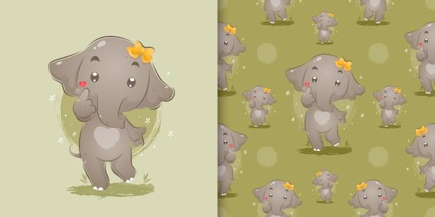 イラストの草の上に立っている小さなリボンを持つ象の女の子