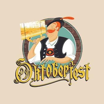 オクトーバーフェストビール祭りのエンブレム。大きなマグカップからビールを飲むチロリアンハットの男。ゴシック文字の碑文。手描きのベクトル図です。