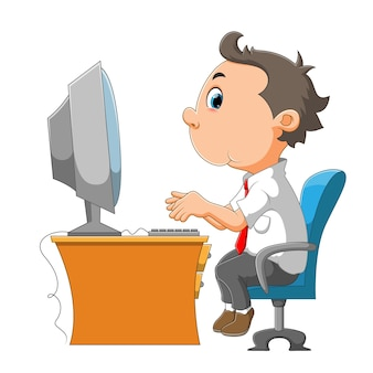 イラストのコンピューターの前に従業員の男性が座っています
