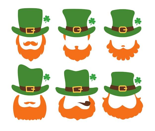 흰색 배경에 고립 된 녹색 모자를 쓰고 긴 수염 성인의 빈 얼굴