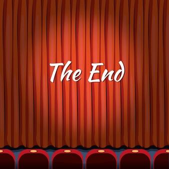 Конец, надпись над красной занавеской, закрыть театр, конец или конец, шоу или развлекательную концепцию