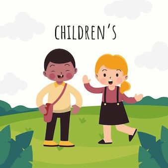 Мальчик и девочка этнического разнообразия - друзья, играющие в парке в мультипликационных персонажах, изолированную иллюстрацию, концепцию детского дня