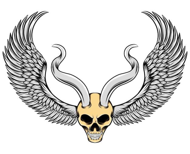 Злой череп с металлическими рогами и крыльями