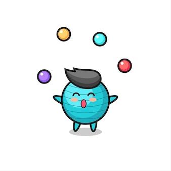 공을 저글링하는 운동 공 서커스 만화, 티셔츠, 스티커, 로고 요소를 위한 귀여운 스타일 디자인