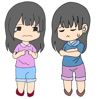 화나고 슬픈 여자의 표정. 만화 그림 스티커 마스코트 이모티콘