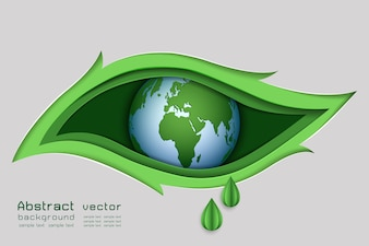 The eye in leaf shape abstract background