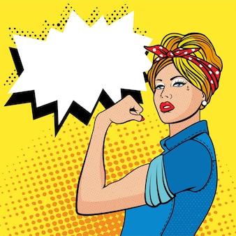 上腕二頭筋、ポップアートコミックのレトロなスタイルのハーフトーンを持つファクトリーガール。古いイラストの模倣。私たちにできる女性。