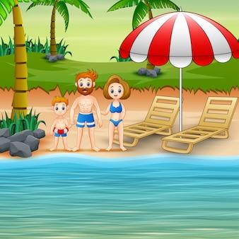 Семья развлекается на летних каникулах