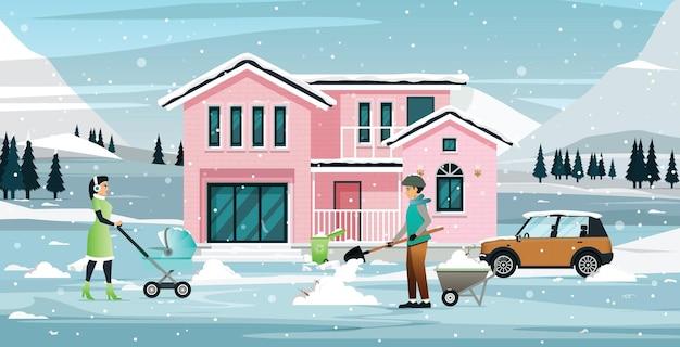 Семья убирает снег, покрывающий дома и машины.
