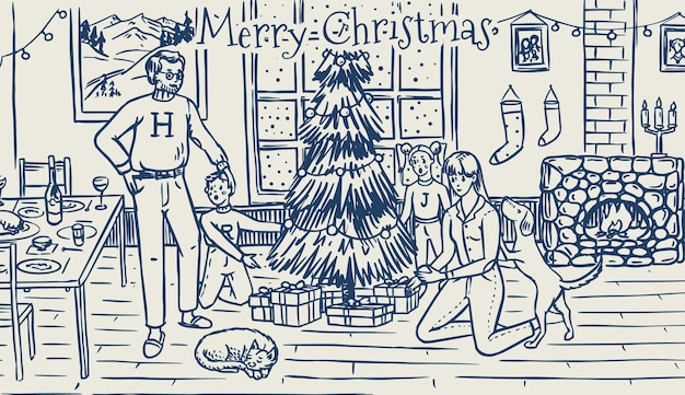 가족이 크리스마스 트리를 장식하고 있습니다. 엄마 아빠 개 고양이와 어린이와 함께 창에