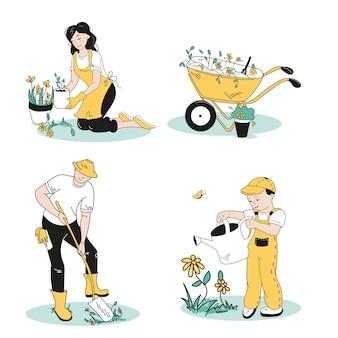 가족은 정원 가꾸기에 종사하고 있습니다. 다른 포즈의 캐릭터 세트입니다.