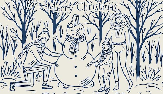 가족은 크리스마스에 눈사람을 만듭니다. 겨울 눈 덮인 숲에서 엄마 아빠 아기. 아늑한 분위기