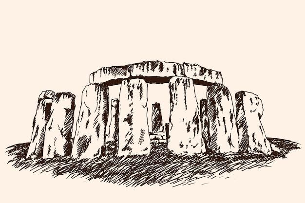 큰 돌로 만든 건축의 유명한 고고학 기념물. 빠른 벡터 스케치입니다.