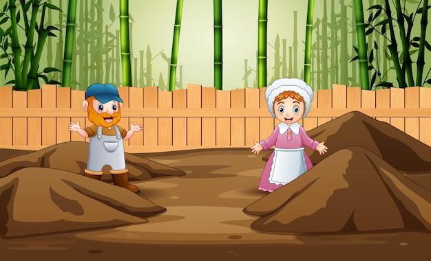 케이지 그림에서 농부 남자와 여자