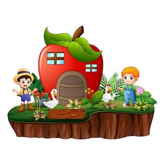 島にリンゴの家を持つ農民
