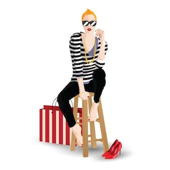 スタイルポップアートのファッショナブルな女の子。ベクトルイラスト