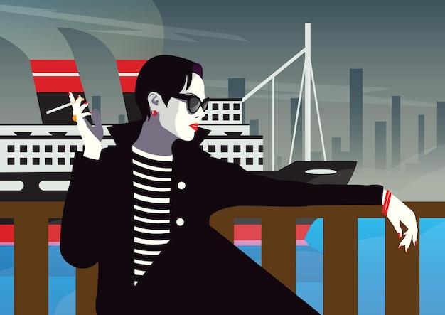 ニューヨークでタバコを持っているファッショナブルな女性。ポップアートイラスト。