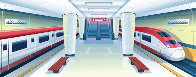 Самый быстрый поезд на станции метро. интерьер метро с поездами, эскалаторами, скамейками и схемой линий. векторные иллюстрации шаржа.