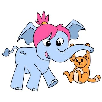Самка слона играет со своим кошачьим другом, используя хобот, векторная иллюстрация. каракули изображение значка каваи.