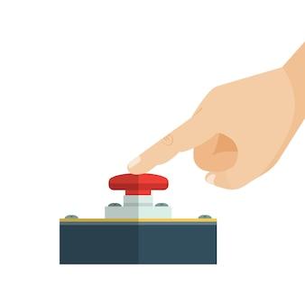 指が赤い警告ボタンに触れています。